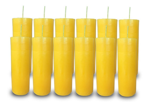 Kit 12 Velas Votivas 7 Sete Dias Colorida Amarela