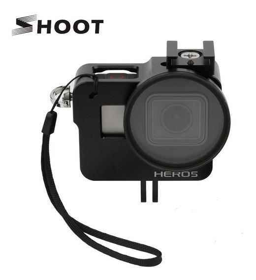 Case Proteção Frame Alumínio + Lente Gopro Hero 5 6 7 Black