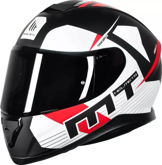 Capacete Mt Thunder 3 Moto Sharp 4 Estrelas Ray Preto Branco