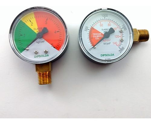 Imagem 1 de 2 de Manômetro Para Regulador De Pressão Co2 Chopp (par)
