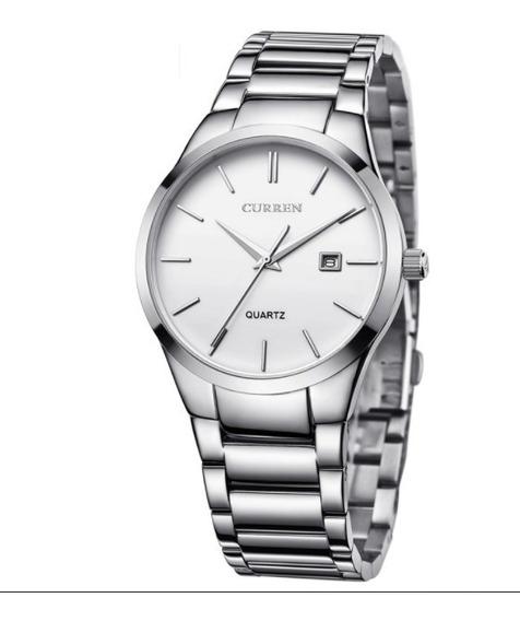Relógio Prata Curren Casual Luxo Masculino Original 8106
