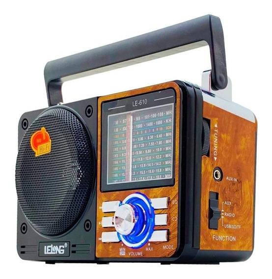 Rádio Retro Vintage Portátil Som Am Fm Mp3 Usb Recarregável