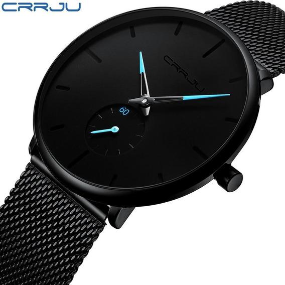 Relógio Minimalista Crrju Luxo Á Prova D