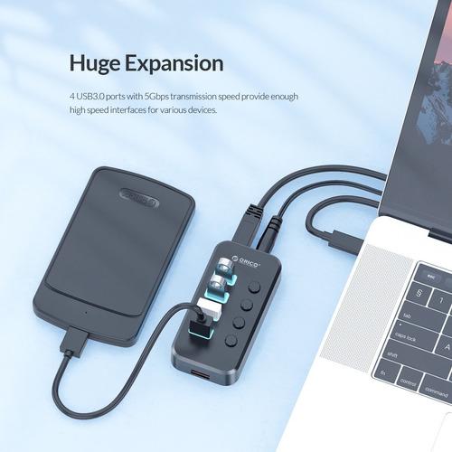 Hub Orico Usb 3.0 4 Portas Swu3-4a Com Carregador