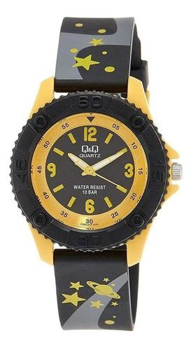 Relógio Infantil Masculino Preto E Amarelo Pulseira Estrelas