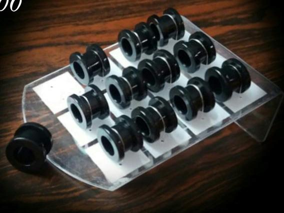 6-par Alargadores Acrilico, Cor Preto 10mm