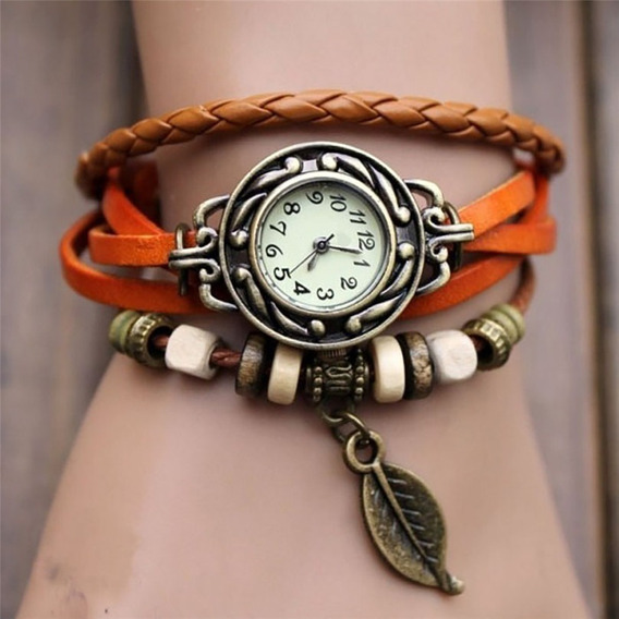 Relógio Feminino Retrô Hippie Lindo Pulseira Em Couro