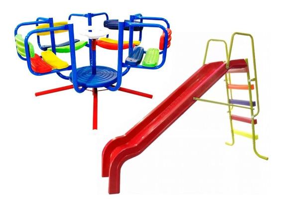 Combo 2 Juegos Calesita Tobogan 5 Niveles Caño Estructural