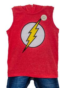Camiseta Do Flash Infantil - Regata Com Capuz