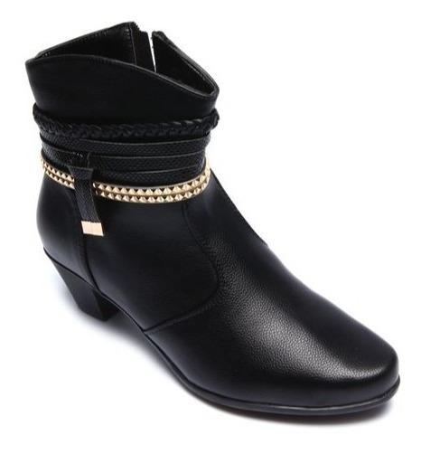Bota Feminina Mooncity Cano Baixo Salto 77951 - Maico Shoes