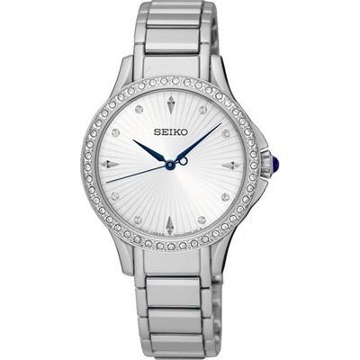 Reloj Seiko Srz485 Diamantes 30m Quartz Cristal Zafiro Dama