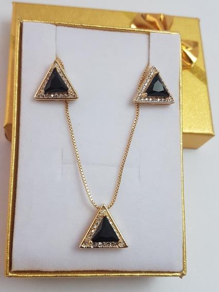 Conjunto Triângulo Luxo, Semi Jóia Banhada A Ouro.