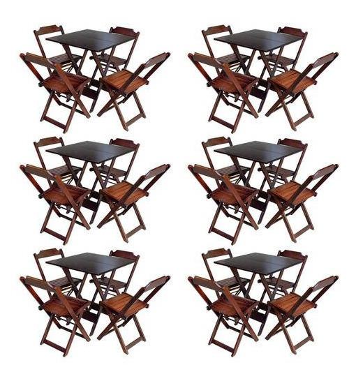 Kit 6 Conjuntos De Mesa Com 4 Cadeiras De Madeira Dobravel