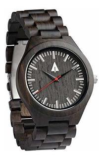 Reloj De Madera De Ébano Negro Para Hombres Treehut Con Corr