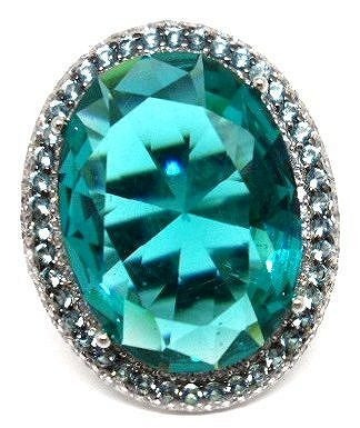 Df5-anel Prata925 Cristal Tom Turmalina Paraiba