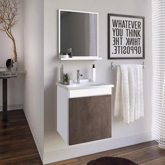 Gabinete Armário De Banheiro Slin 400 + Cuba + Espelho