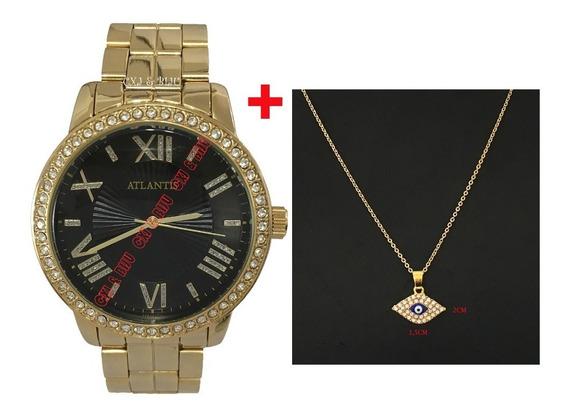 Relógio Feminino Atlantis Dourado Diamante + Corrente +caixa