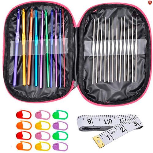 Imagen 1 de 8 de Kit 22 Agujas Crochet Metálicas + 12 Marcadores + Metro 36un