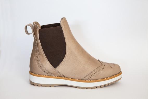 Botineta De Cuero Picado Brandy - La Agostina Shoes
