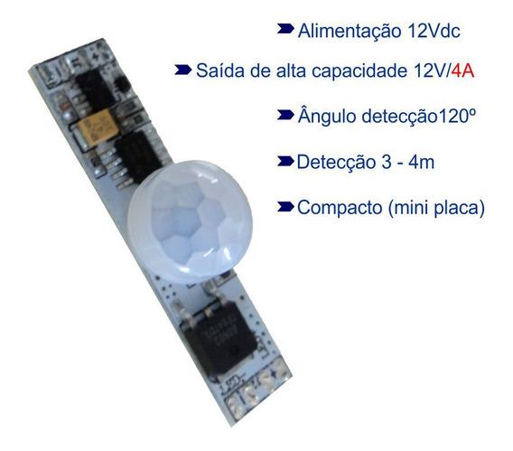 Sensor Presença Movimento 12vdc Pir Temporizado P/ Led 4a