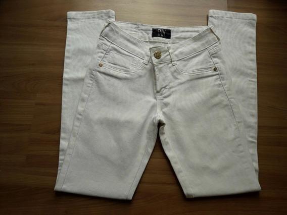 Calça Feminina Branca Estampada Brim Sarja Skinny Tamanho 36