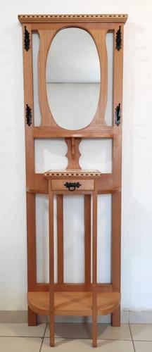 Chapeleiro Com Espelho Oval Para Hall De Entrada/sala/quarto
