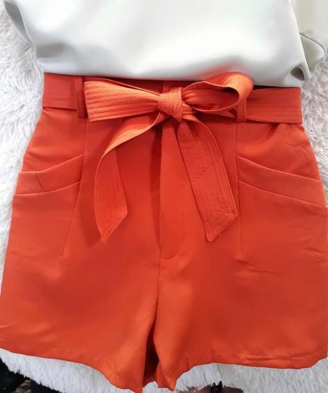 Short Feminino Liso Cintura Alta Laço Bolsos Verao Importado