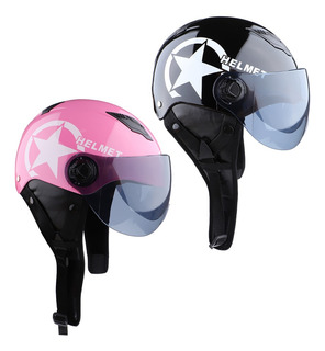 2pcs Casco De Moto Scooter Para Mujer Hombre Adultos, Color