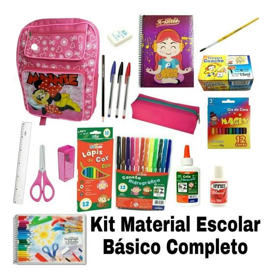 Kit Material Escolar Básico Completo Menina Volta As Aulas