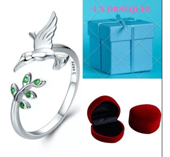 Anillo Colibrí Plata Esterlina Y Cristales Verdes Mujer!!!