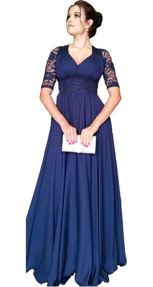 Vestido De Festa Azul Marinho Madrinhas Formandas Detalhes Renda Bojo Forro Luxo Mãe De Noivos Bodas Moda Evangélica
