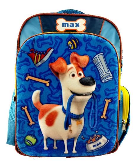 Mochila Vida Secreta De Mis Mascotas Max 3d Terciopelo Primaria Original Ruz