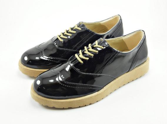 Zapato Charol Con Cordón Negro Dama Mujer Moda