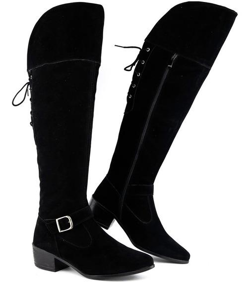 Bota Feminina Montaria Over The Knee Cano Longo Ziper Salto