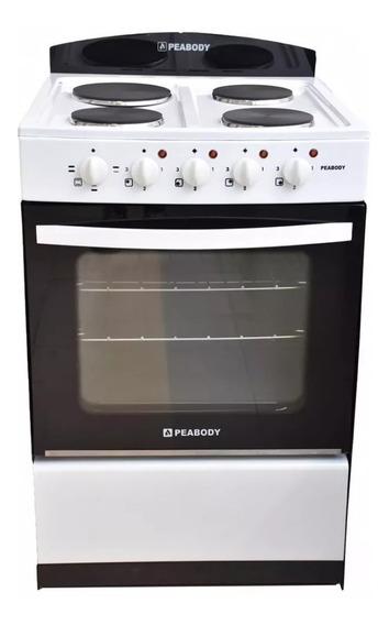 Cocina Electrica Peabody 4 Hornallas 56 M Blanco Horno Grill
