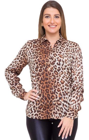 Camisa Feminina Petra Animal Print Onça Plus Size Pimenta R