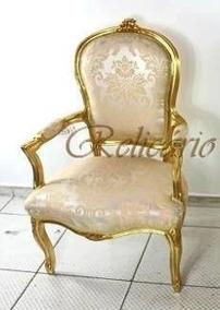 Poltrona Estilo Luis Xv Madeira Entalhada Folhada À Ouro