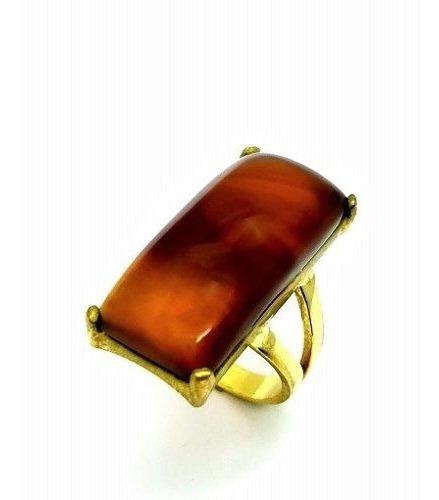 Anel Pedra Natural Aro V Banho De Ouro 18k 1598