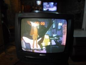 Tv Philips Antiga 14 Polegadas Tubo Colorida Funcionando 01