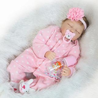 Muñeca Bebé Reborn De Silicona Y Algodón, 55cm