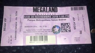 Boleta Del Megaland Vip