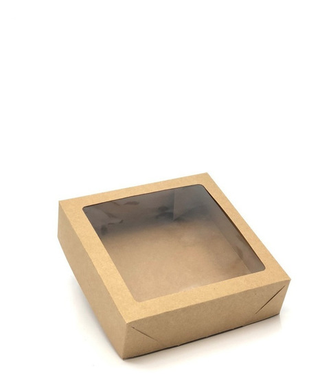 20 Caixas De Presente Kraft 15x15x4 Visor/ Tampa+fundo