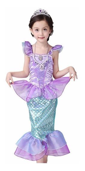 Fantasia Infantil Vestido Princesa Ariel Pequena Sereia