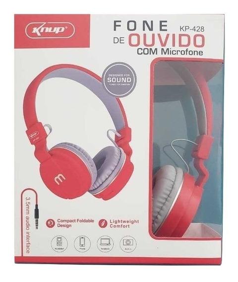Fone De Ouvido C/ Fio E Microfone Kp-428 Barato Knup E Cny