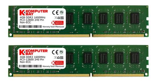 Memoria Ram 8gb Komputerbay (2 X 4gb) Ddr3 Dimm (240 Pin) 1600mhz Pc3 12800 8 Gb Kit (9-9-9-25)