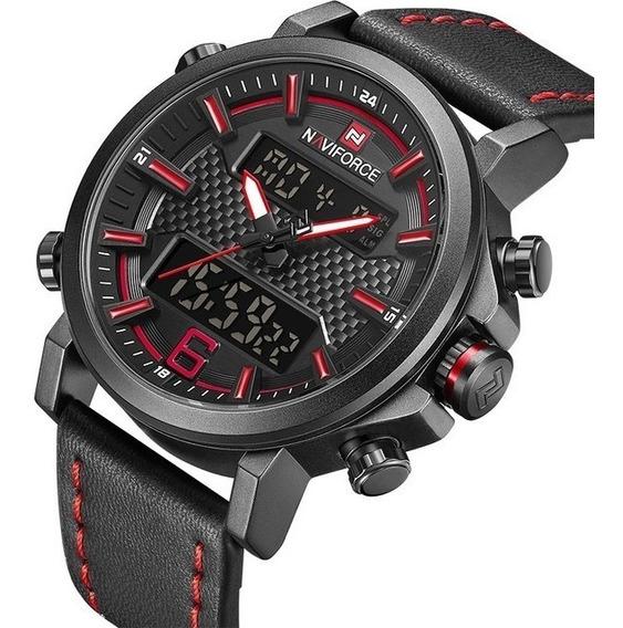 Relógio Masculino Anadigi Preto E Vermelho Casual Cronometro