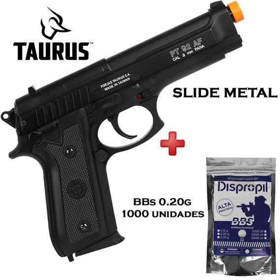 Pistola Taurus Airsoft Spring Pt92 Slide Metal + Bbs 0.20g