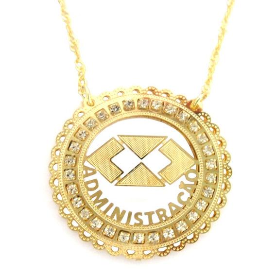 Colar Profissão Administração Medalha Strass Folheado A Ouro