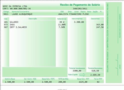 Holerite Modelo Contra-cheque Editável No Excel Frete Grátis
