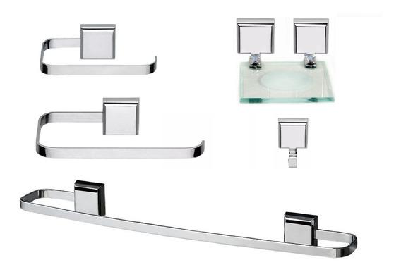 Kit De Acessórios Para Banheiro Linha Luxo Quadrado 5 Peças